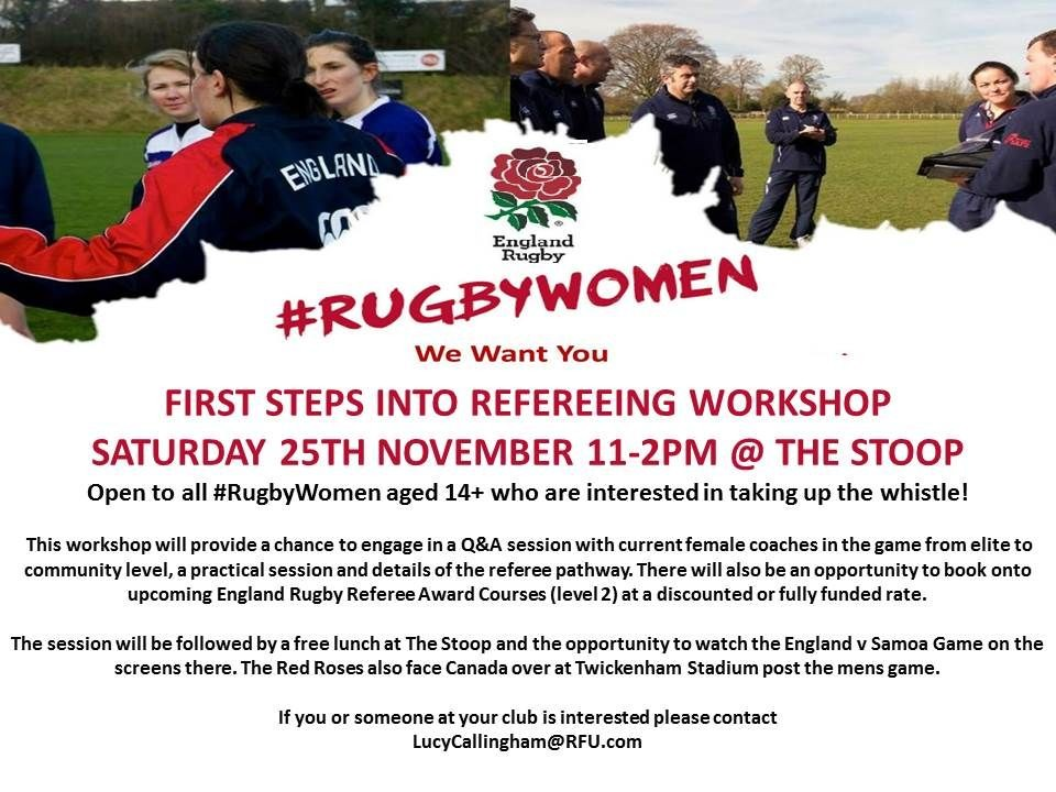 First Steps into Refereeing for Women this Saturday