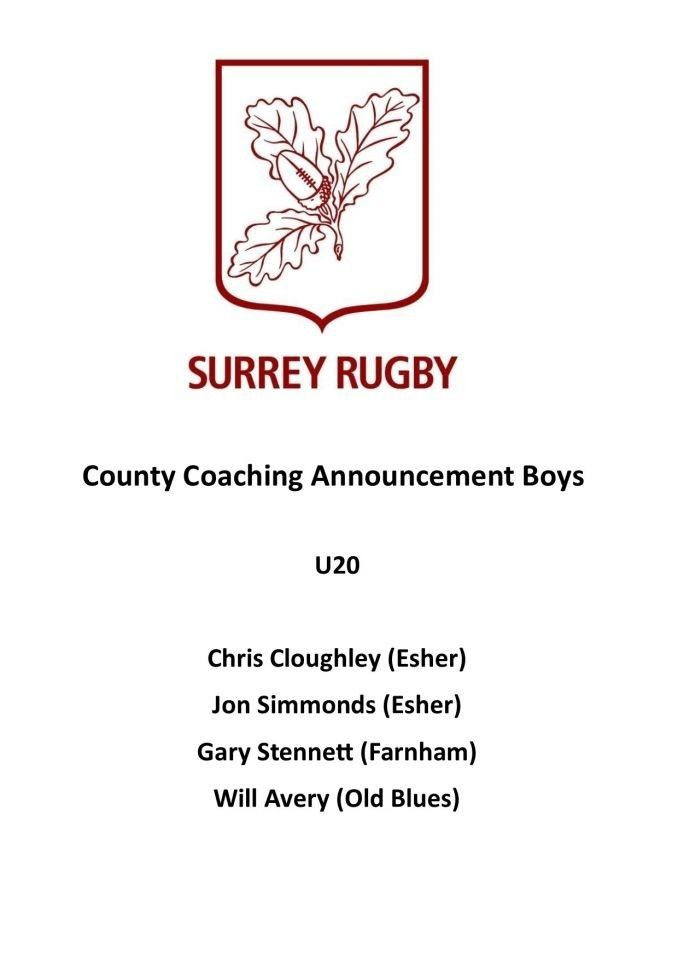 Coaching Announcement: Under 20's