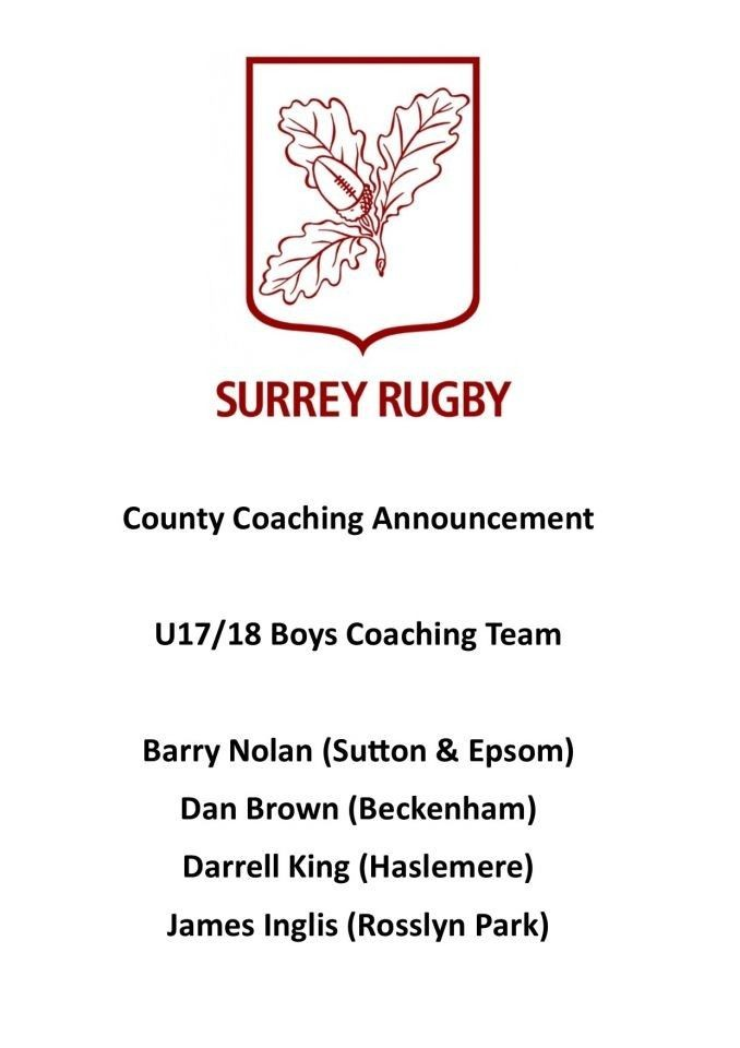 Coaching Announcement: Under 17 & 18 Boys