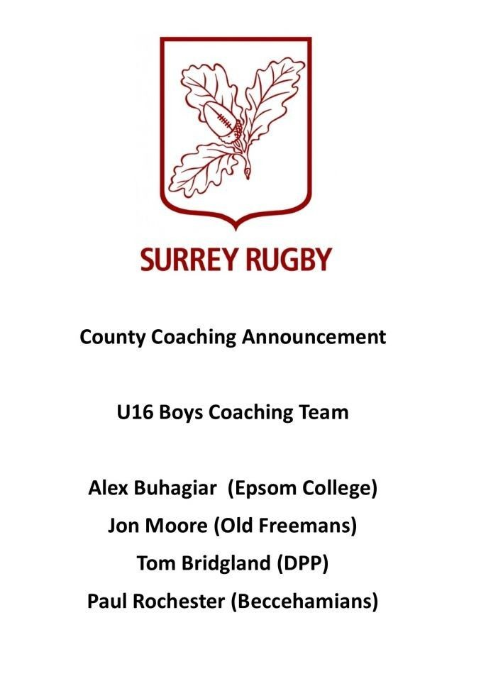 Coaching Announcement: Under 16 Boys