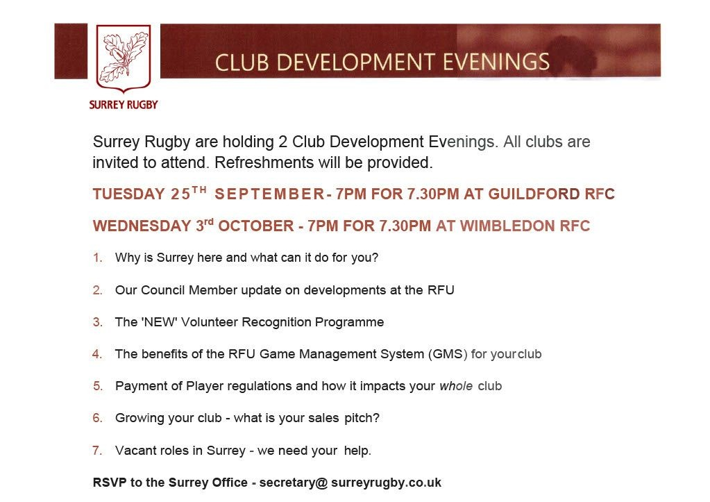 Surrey Rugby Club Development Meetings