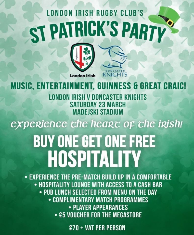 CLUB SURREY EXCLUSIVE: BOGOF Hospitality for London Irish St Patrick's Party