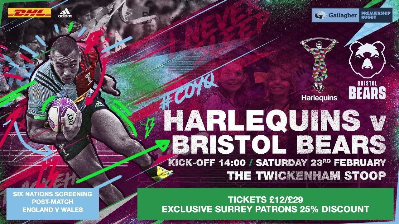 CLUB SURREY EXCLUSIVE: 25% Discount Harlequins vs Bristol