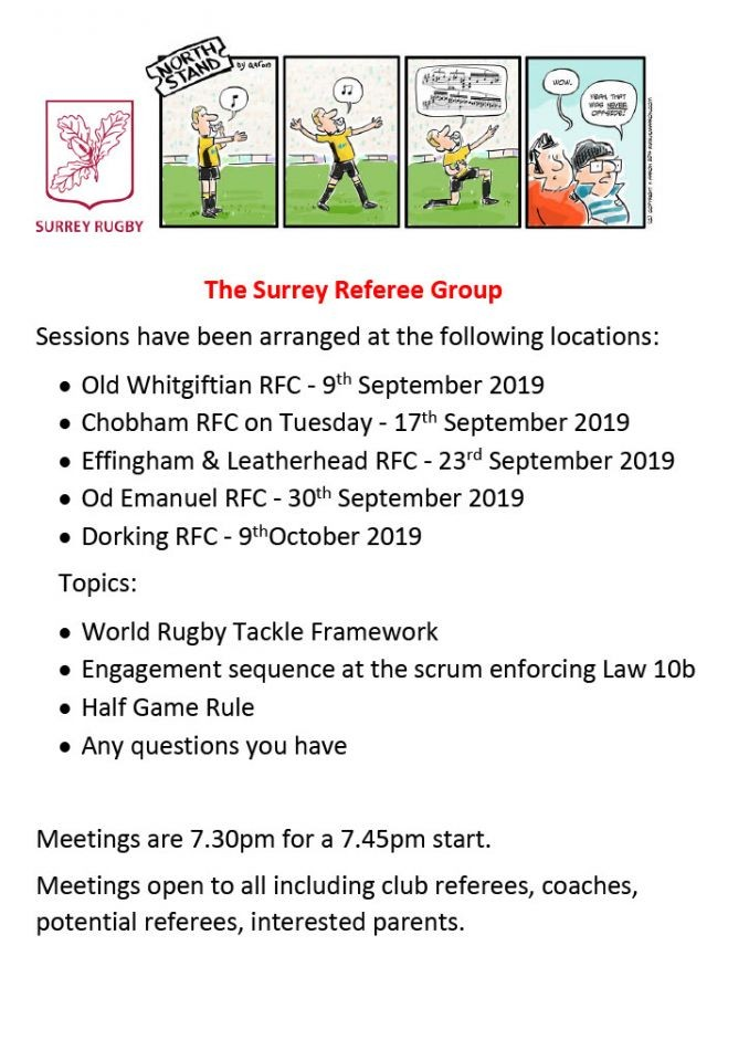 The Surrey Referee Group - Upcoming Meetings