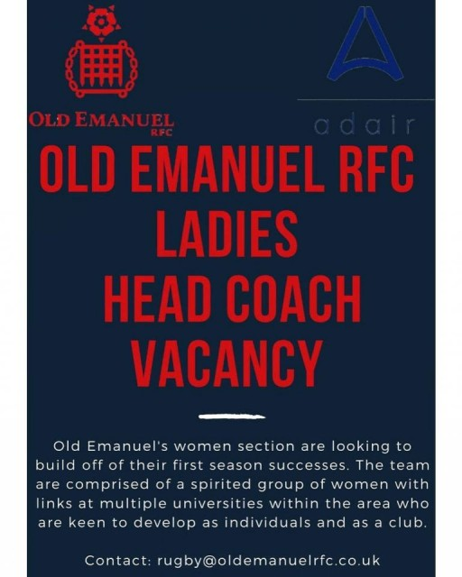 Vacancy - Head Coach of Old Emanuel Women's Rugby