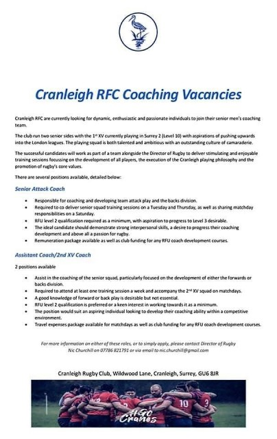 Coaching Vacancies - Cranleigh RFC