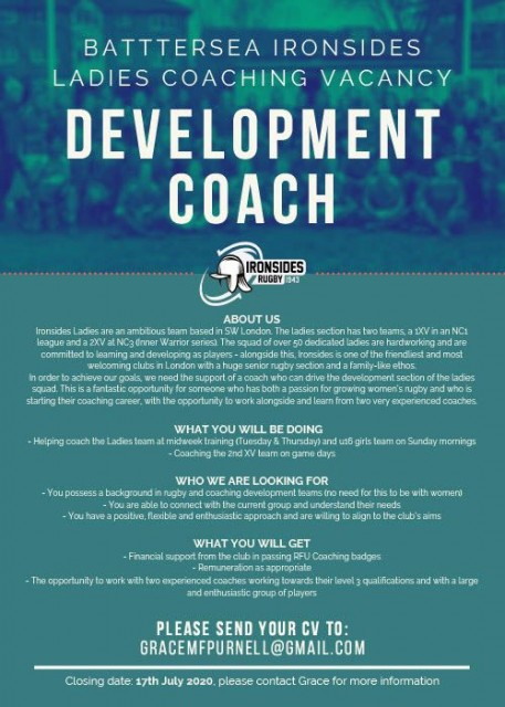 Vacancy - Ironsides Ladies Development Coach