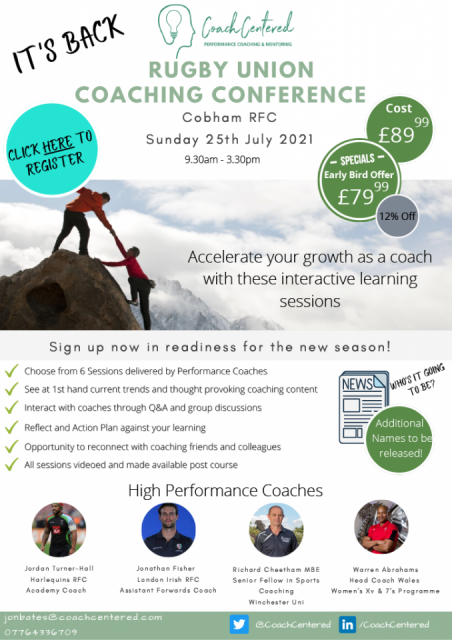 Coach Centred - Rugby Union Coaching Conference